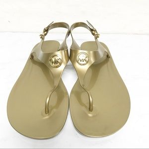 Michael Kors Signature Gold Jelly Thong Sandals 11